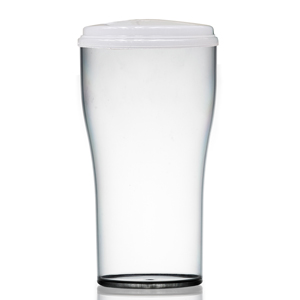 Econ Polystyrene 2 Pint Beer Take Out Reusable Glass & Lid 40oz / 1.13ltr