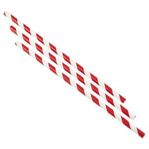 Red & White Stripe Paper Straws 7.8inch