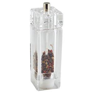 Genware Square Salt/Pepper Grinder Acrylic 15cm