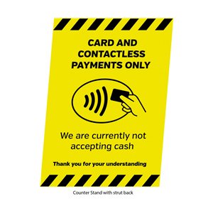 Card & Contactless Payments Only A5 Freestanding Counter Top Sign