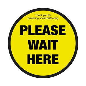 Please Wait Here Social Distancing Floor Graphic 40cm