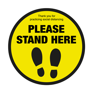 Please Stand Here with Symbol Social Distancing Floor Graphic 40cm