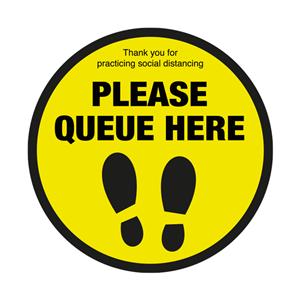 Please Queue Here with Symbol Social Distancing Floor Graphic 40cm