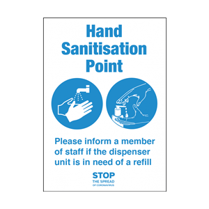 Hand Sanitisation Point A5 Self Adhesive Vinyl