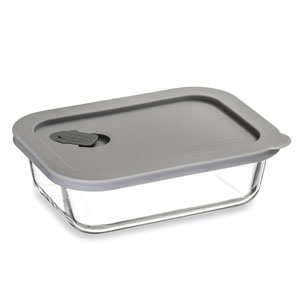 ClickClack Cook+ Rectangle Heatproof Glass Container Grey 0.6ltr