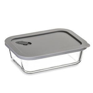 ClickClack Cook+ Rectangle Heatproof Glass Container Grey 1ltr