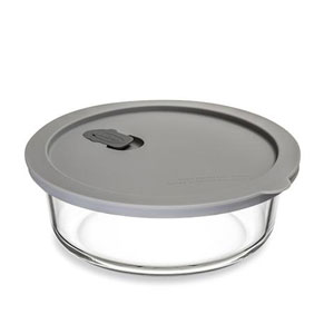 ClickClack Cook+ Round Heatproof Glass Container Grey 0.4ltr