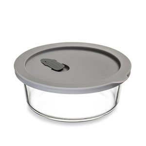 ClickClack Cook+ Round Heatproof Glass Container Grey 0.6ltr