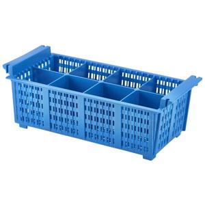 Blue 8 Compart Cutlery Basket 43cm X 21cm