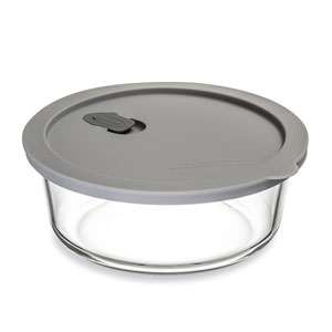 ClickClack Cook+ Round Heatproof Glass Container Grey 0.9ltr