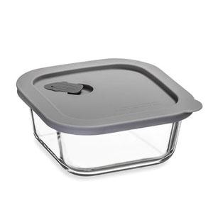 ClickClack Cook+ Square Heatproof Glass Container Grey 0.5ltr