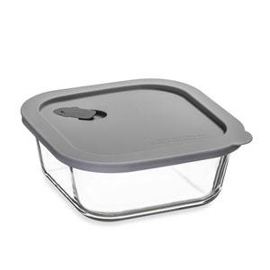 ClickClack Cook+ Square Heatproof Glass Container Grey 0.8ltr