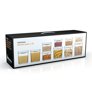 ClickClack Pantry Storage Cube White 10 Piece Set