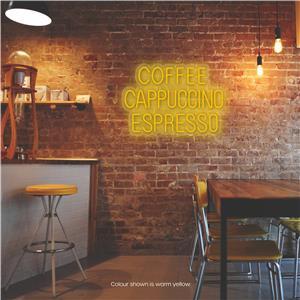 Coffee - Cappucchino - Espresso LED Neon Sign Warm Yellow