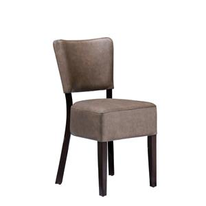Club Side Chair Wenge Distressed Bark Lascari Faux Leather