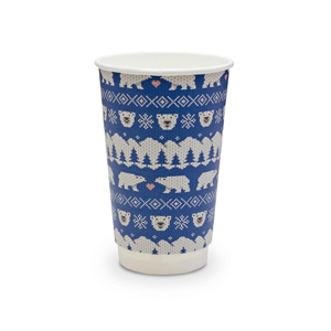 Double Wall Blue Polar Bear Christmas Cups 16oz / 455ml