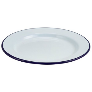 Enamel Wide Rim Plate White & Blue 20cm