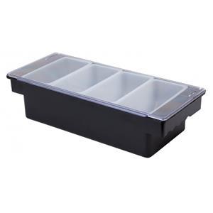 Black Plastic Condiment Holder 4 Compartment