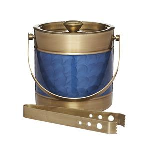 BarCraft Stainless Steel Blue and Brass Finish Ice Bucket