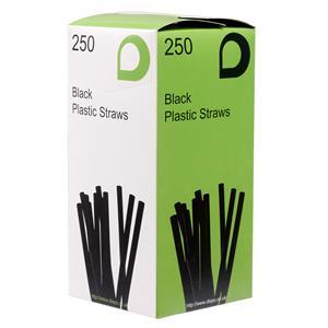 Black Flexi Straws 210mm x 5mm