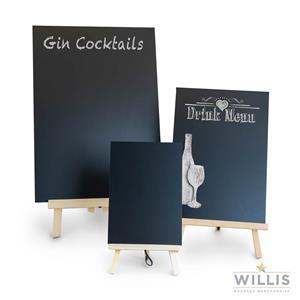 Wooden Easel Style Table Talker Square Top A3 Black & Light Oak