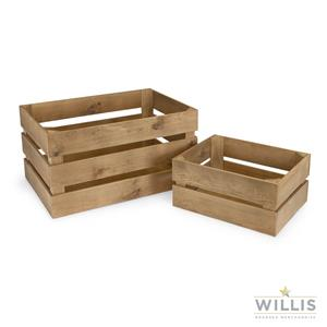 Wooden Display Crate Stained Pine 48 x 35.5cm