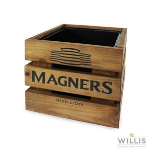 Wooden Crate Ice Bucket Lacquered Pine 10ltr