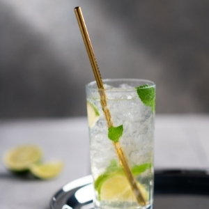 Straight Gold Steel Straws with Brush