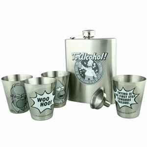 The Simpsons 'To Alcohol!' Hip Flask Set