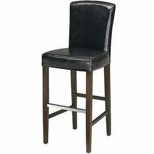 Palmas Leather Bar Stool With Back Black