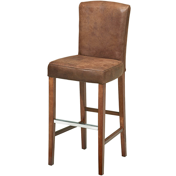 Ascot Aged Leather Bar Stool With Back Brown Drinkstuff