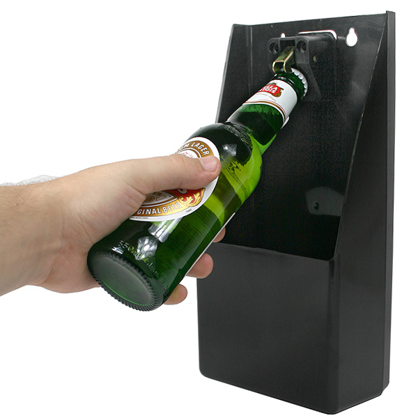 pub bar wall mountable stand up bottle opener and catcher ebay. Black Bedroom Furniture Sets. Home Design Ideas