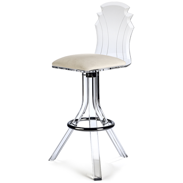 Tiffany Acrylic Bar Stool Off White