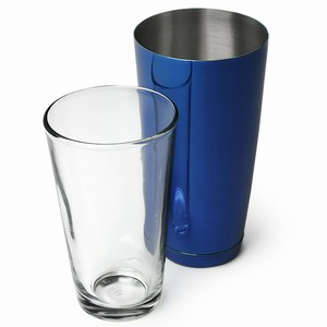 Professional Boston Cocktail Shaker Blue Tin Glass Set