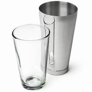 Mako Large Tin Boston Cocktail Shaker Tin Glass Set