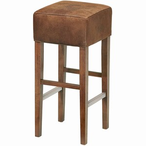 Ascot Aged Leather Bar Stool Brown