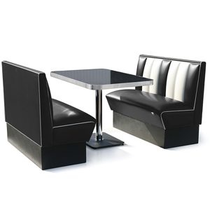 Hollywood Booth Dining Set Black