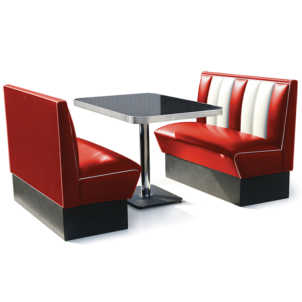 Hollywood booth dining set red drinkstuff - Kitchen booth sets ...
