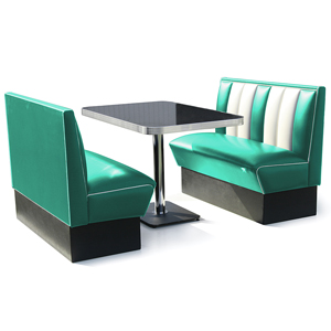 Hollywood Booth Dining Set Turquoise