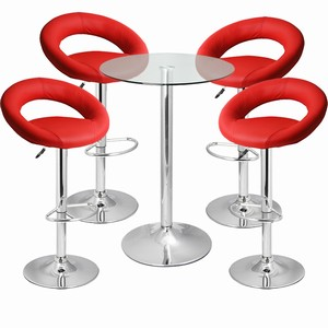 Leather Crescent and Vetro Table Set Red