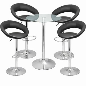 Leather Crescent and Vetro Table Set Black