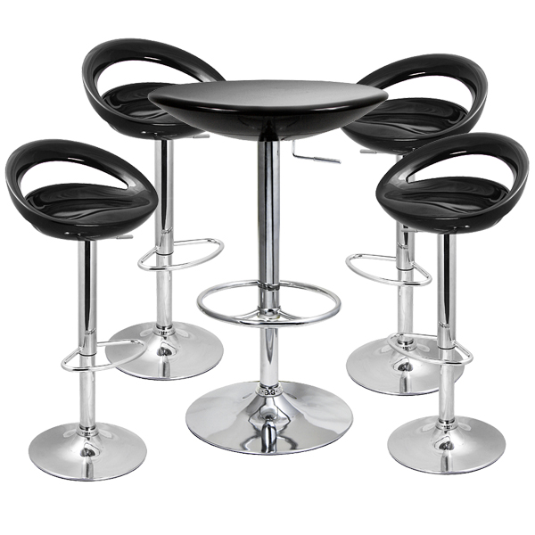 Crescent Bar Stool And Podium Table Set Black Buy