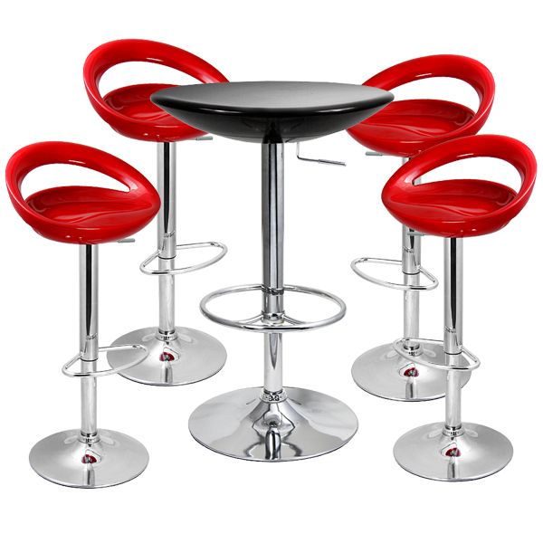 Crescent Bar Stool And Podium Table Set Red