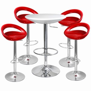 Crescent Bar Stool And Podium Table Set Red White Table Stools