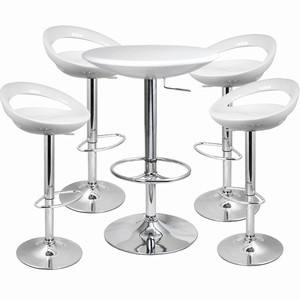 Crescent Bar Stool and Podium Table Set White