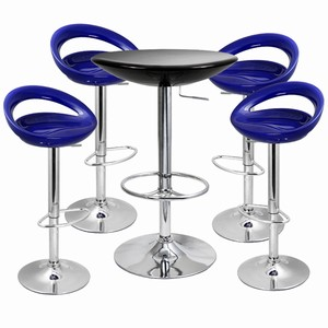 Crescent Bar Stool and Podium Table Set Blue
