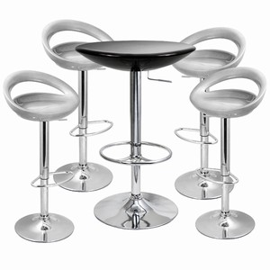 Crescent Bar Stool and Podium Table Set Silver