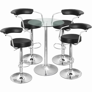 Zenith Bar Stool and Vetro Table Set Black