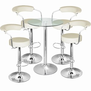 Zenith Bar Stool And Vetro Table Set Cream