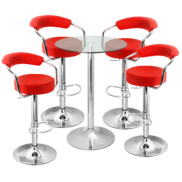 Zenith Bar Stool And Vetro Table Set Red Drinkstuff